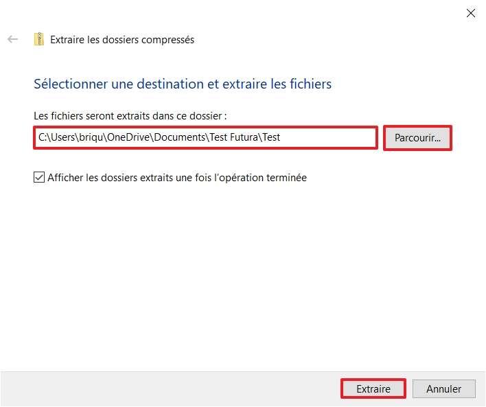 Vous pouvez extraire les fichiers contenus dans le ZIP dans le même dossier que celui-ci ou dans un dossier de votre choix. © Microsoft