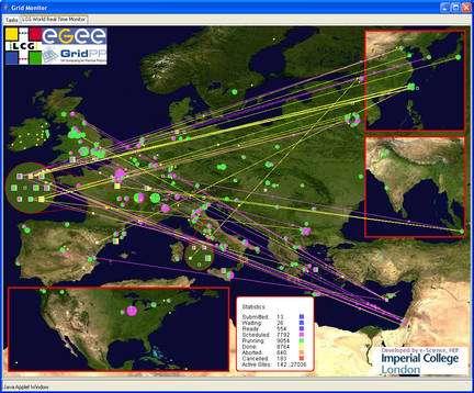 Une carte du réseau d'ordinateurs de la grille connectés pour étudier 300.000 médicaments possibles pour lutter contre la grippe aviaire. © Cern