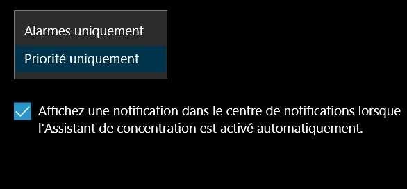Définissez le niveau de concentration de l'assistant. © Microsoft