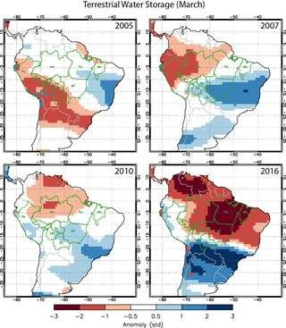 Les données sur les réserves d'eau souterraine collectées avec le satellite Grace montrent un déficit très important en 2016 pour la moitié nord de l'Amérique du Sud. L'impact sur la forêt amazonienne et tout le bassin du fleuve Amazone risque d'être très fort. © Yang Chen, University of California, Irvine