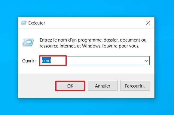 Employez la commande « Exécuter » pour accéder à l'invite de commandes. © Microsoft