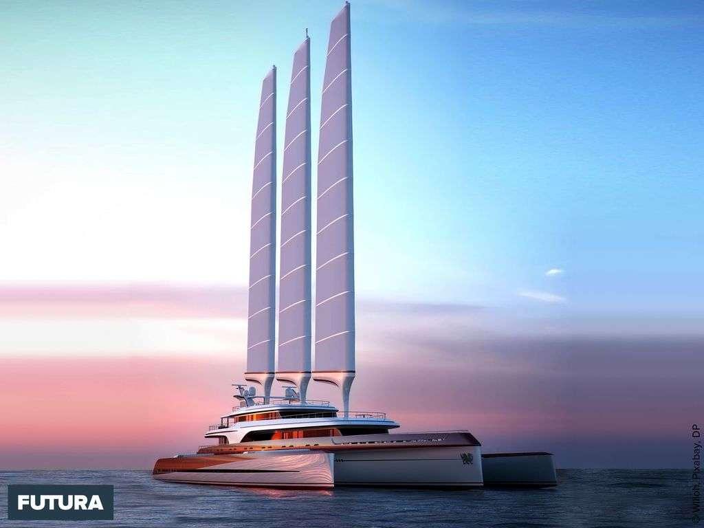 Trimaran : bateau à trois coques avec 2 flotteurs et une coque centrale.