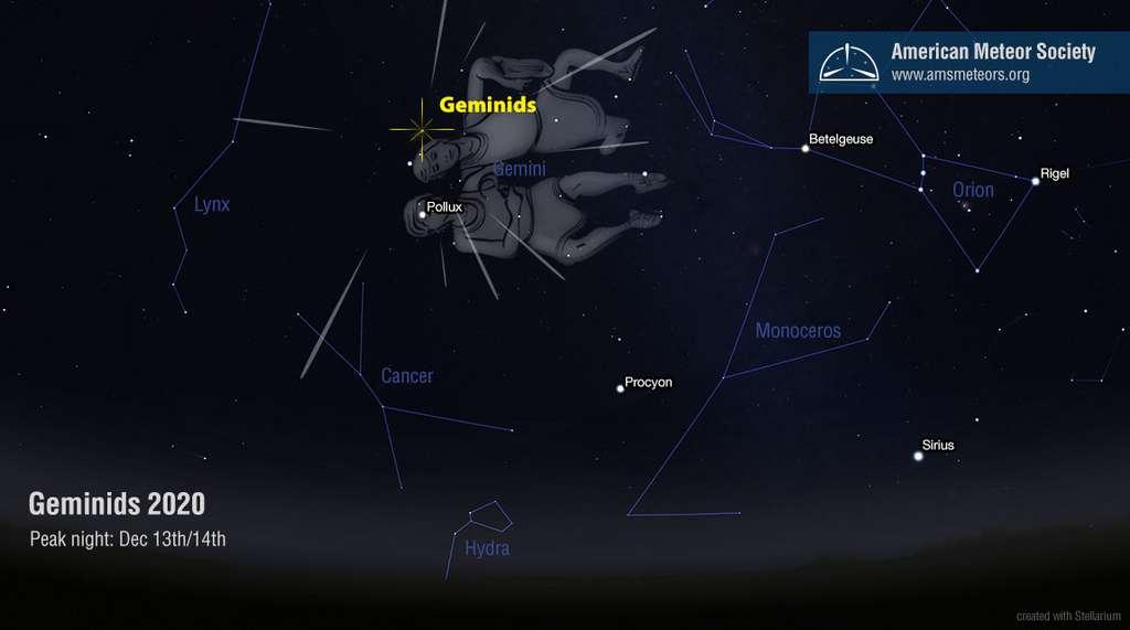 Point de Lune en 2020 pour déranger l'observation des Géminides. Le radiant se situe près de l'étoile Castor de la constellation des Gémeaux. © American Meteor Society