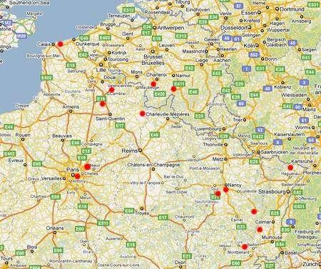 Carte de la répartition des observateurs du bolide du 16 mars 2010 qui sont venus témoigner sur Futura-Sciences. Crédit J.-B. Feldmann