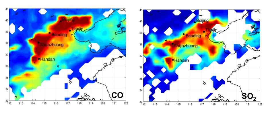 Distributions spatiales du CO et du SO2 mesurées par le sondeur IASI/MetOp le 12 janvier 2013 au-dessus de la Chine. Du bleu au rouge, les couleurs indiquent des concentrations de polluants de plus en plus fortes. Les zones blanches correspondent à des nuages ou à l'absence de données. © Anne Boynard (Latmos-IPSL, CNRS, UPMC, UVSQ)