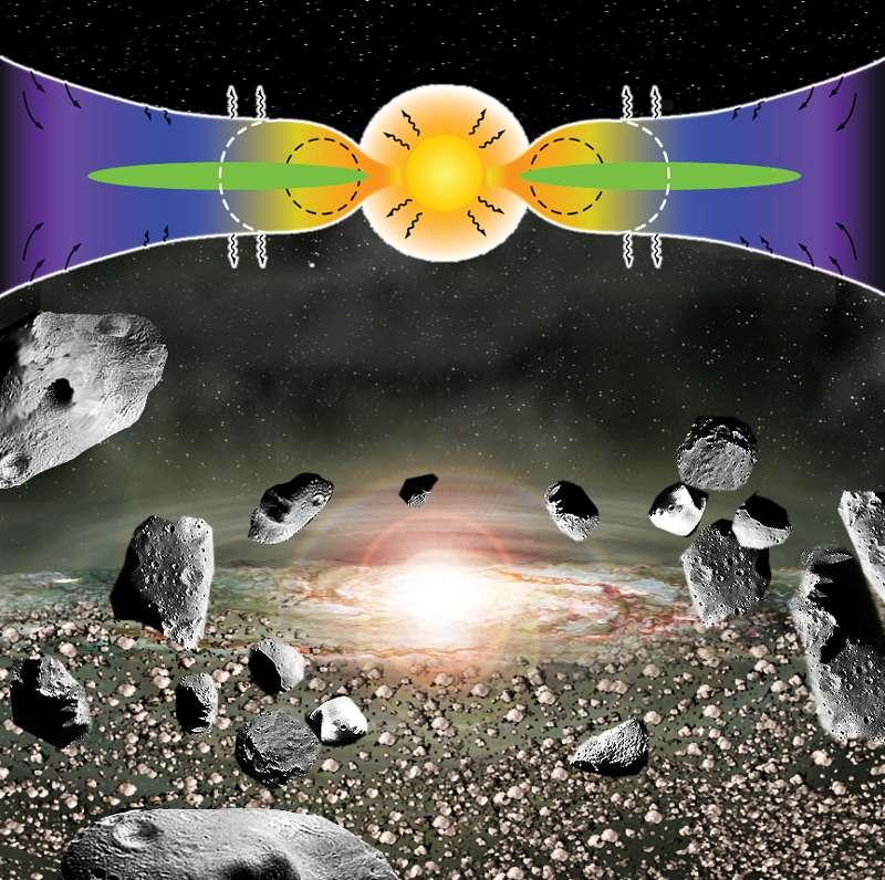 Une vue d'artiste de l'époque où le Soleil était encore une protoétoile tirant son énergie de la seule contraction gravitationnelle. Un disque protoplanétaire (en vert) l'entourait, alimenté par la chute de gaz et de poussières issus de la nébuleuse protosolaire (en bleu avec des flèches noires). Le Soleil était alors en phase T Tauri et émettait donc un intense rayonnement ultraviolet. C'est à cette époque, pendant les premiers millions d'années de l'histoire du Système solaire, que nombre d'astéroïdes ont subi un chauffage important. © Lawrence Berkeley National Laboratory