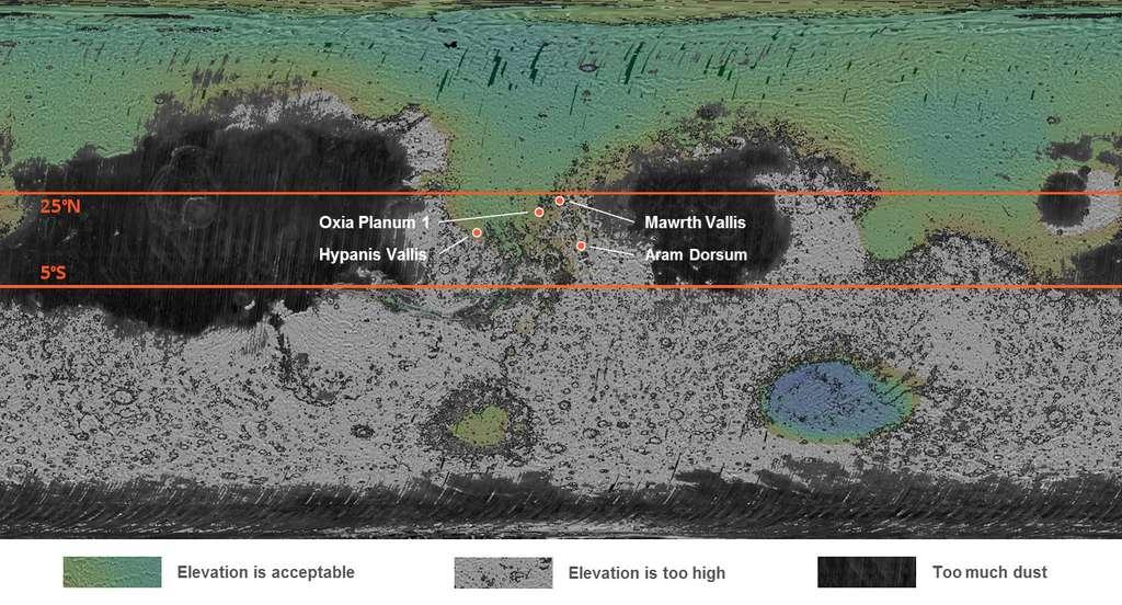 Les quatre sites martiens en compétition. Les zones noircies indiquent des régions trop poussiéreuses, les zones grisées sont trop hautes et les régions en vert ont une altitude acceptable. © Esa, Roscosmos, LSSWG