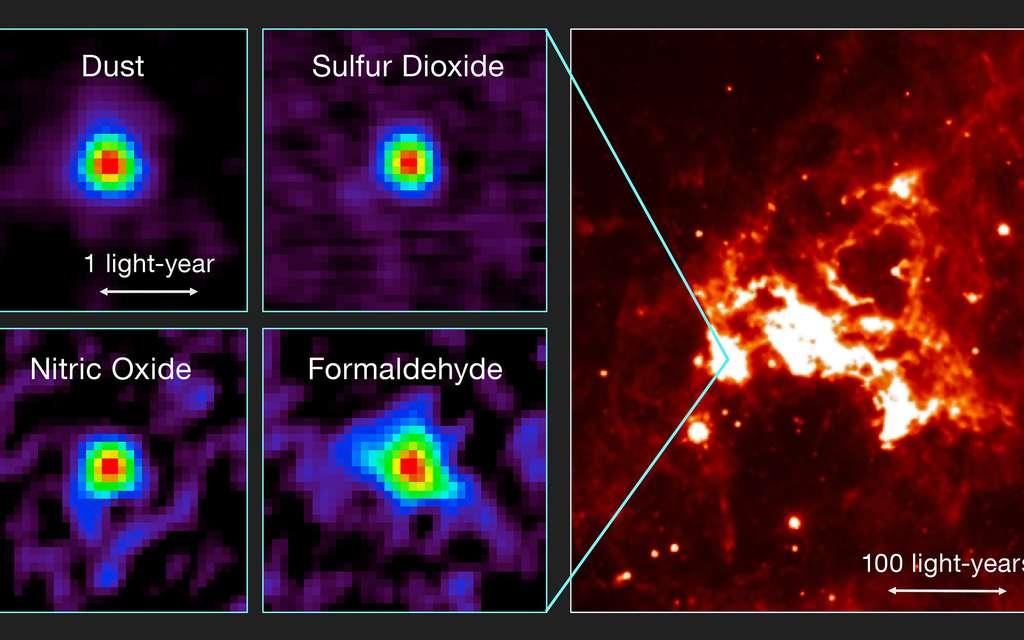Sur cette image composite figurent les observations du tout premier noyau moléculaire chaud détecté par Alma à l'extérieur de la Voie lactée (à gauche), ainsi qu'une vue de cette région du ciel en lumière infrarouge (à droite). Plus précisément, sur les figures de gauche, sont visibles les distributions de raies moléculaires émises par un noyau moléculaire chaud du Grand Nuage de Magellan et détectées par Alma. À titre d'exemples figurent les émissions de la poussière (Dust, en anglais sur l'image), du dioxyde de soufre (Sulfur Dioxide), du monoxyde d'azote (Nitric Oxide) et du formaldéhyde (Formaldehyde). La figure de droite est une vue infrarouge de la région de la formation stellaire environnante (obtenue à partir de données acquises par le télescope spatial Spitzer de la Nasa). © T. Shimonishi, Tohoku University, Alma (ESO/NAOJ/NRAO)