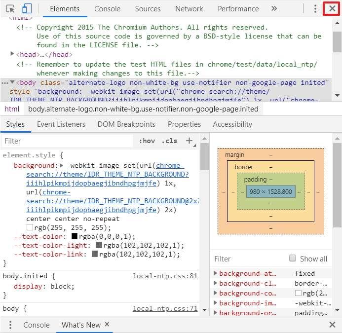 Fermez la console web une fois la capture faite. © Google