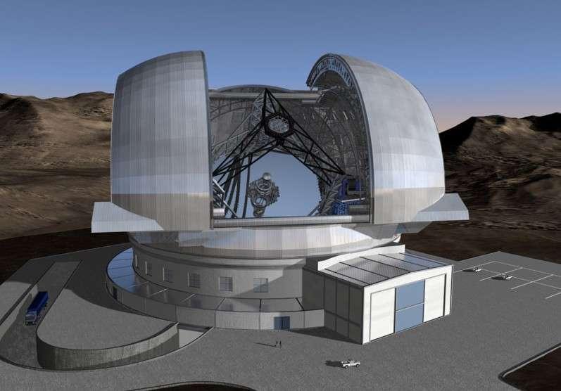Avec son miroir de 42 mètres de diamètre, l'E-ELT construit au Chili devrait être opérationnel d'ici 10 ans. © ESO