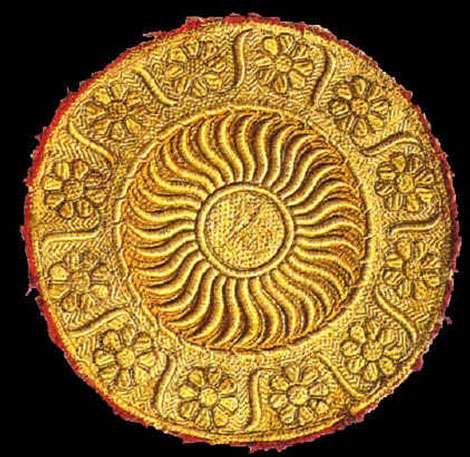 Mandala indien cousu en fil d'or.