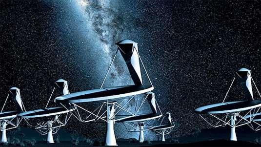 Dans sa nouvelle configuration, le SKA regroupe toujours 3.000 antennes de trois types différents, correspondant à trois domaines de fréquences distinctes et dédiés à des champs d'observation spécifiques. Mais, au lieu d'être installées sur un seul site, elles seront partagées, par type, entre les deux sites. © SPDO/TDP/DRAO/Swinburne Astronomy Productions
