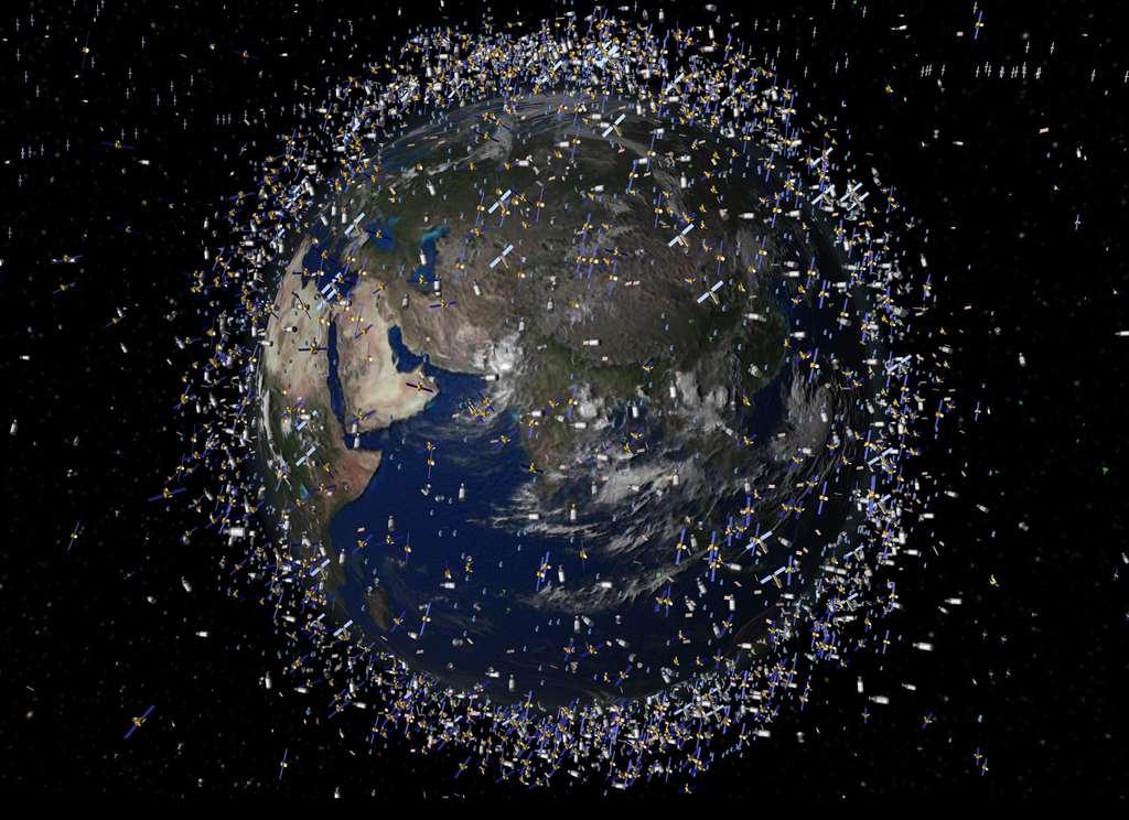 Vision d'artiste des débris spatiaux présents autour de la Terre, aux alentours de 2.000 km d'altitude. © Esa 2009