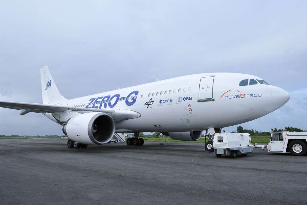 Le nouvel avion Zéro-G de Novespace n'est autre qu'un ancien Airbus A310 de la flotte gouvernementale de la Luftwaffe, l'armée de l'air allemande. Il était alors utilisé pour transporter des passagers VIP. © Novespace