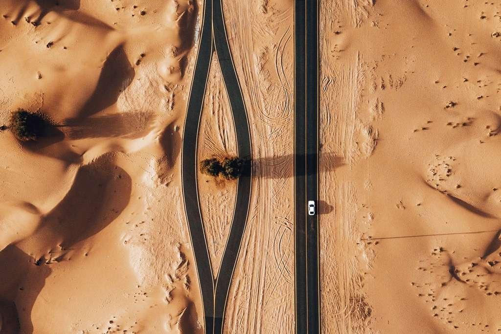 L'obstacle de l'arbre en plein désert, Émirats arabes unis © whosane, Dronestagram