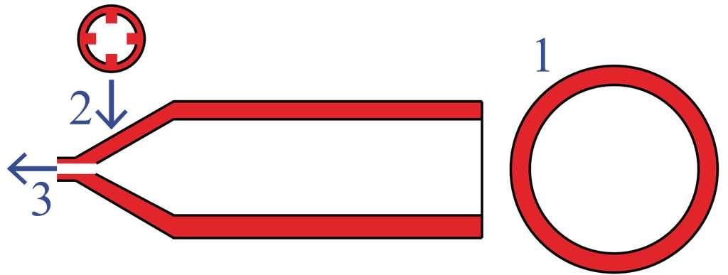 Le tube de dentifrice est constitué d'une sorte de canal. Ce dernier est percé de trous permettant à une faible quantité de pâte colorée de rejoindre la pâte blanche. © AssetBurned, Wikimedia Commons, CC by-sa 3.0