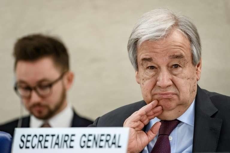 Le secrétaire général de l'ONU, Antonio Guterres, le 24 février 2020, lors d'une réunion à Genève. © Fabrice Coffrini, AFP