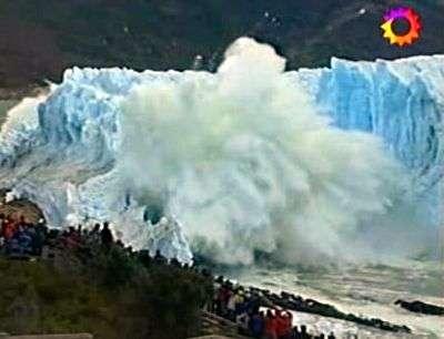 Effondrement du Perito Moreno, image 3. Capture télévision argentine