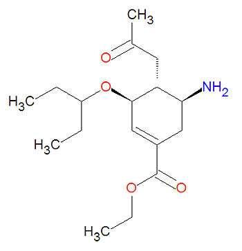 Structure de l'oseltamivir, un antiviral. © en.citizendium.org