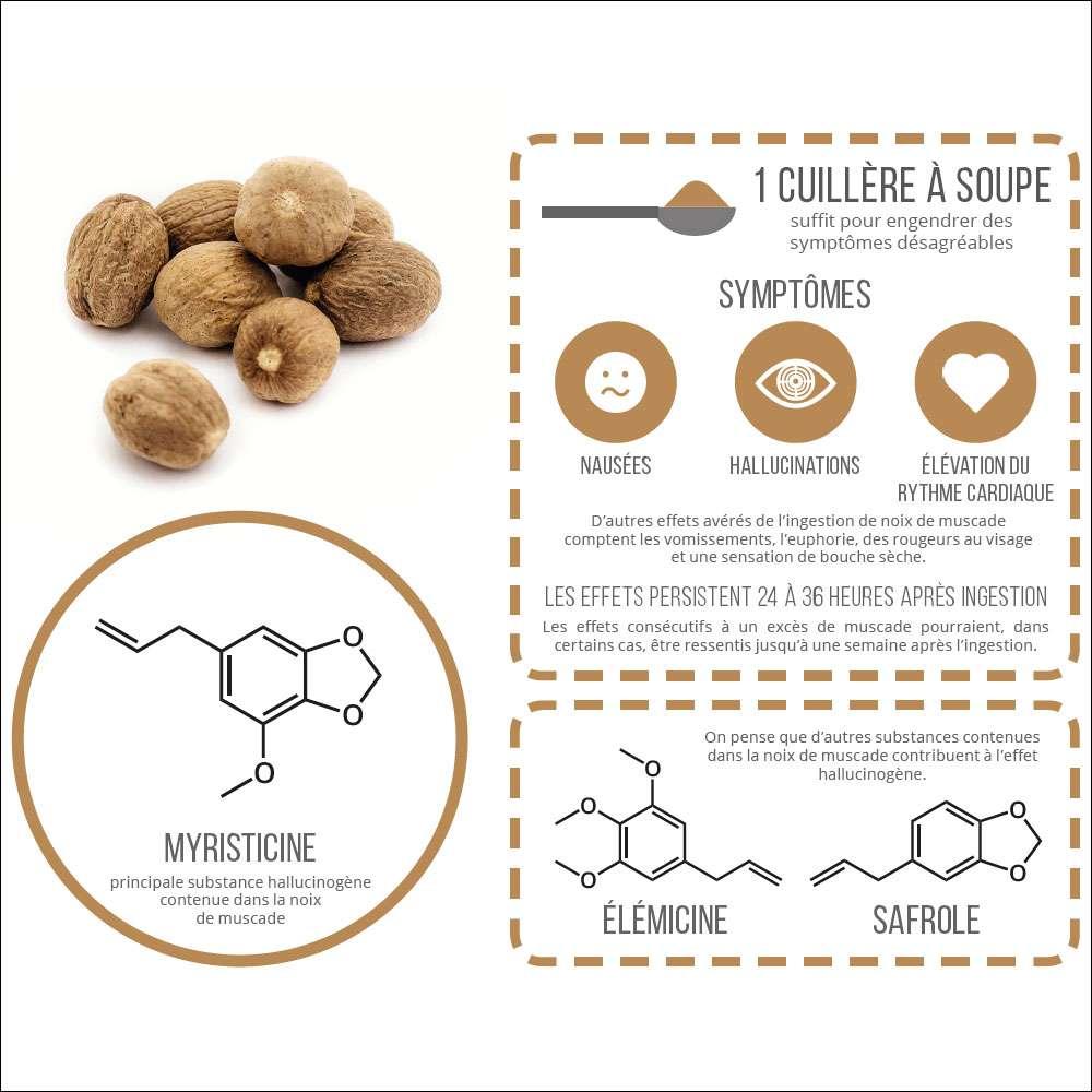 Les composés impliqués dans la noix de muscade. © PPUR