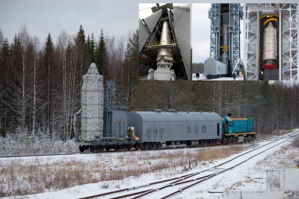 Installation du dernier étage, qui contient les trois satellites Swarm, sur le lanceur Rockot, ici vu dans sa tour de service. © S. Corvaja, Esa