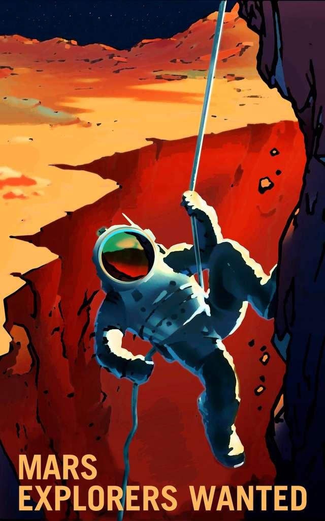 La Nasa imagine que des humains, un jour, escaladeront les montagnes martiennes. © Nasa, KSC
