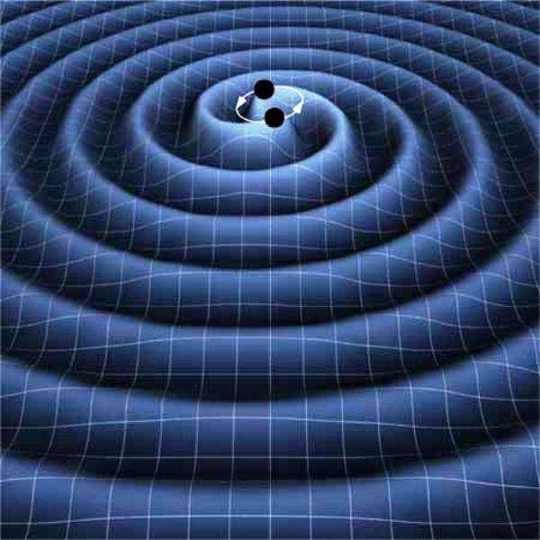 Une représentation d'artiste des ondes gravitationnelles se propageant dans le tissu de l'espace-temps et rayonnées par un couple de trous noirs spiralant l'un vers l'autre en perdant de l'énergie suite à l'émission de ces ondes. © K. Thorne (Caltech)-T. Carnahan (Nasa GSFC)