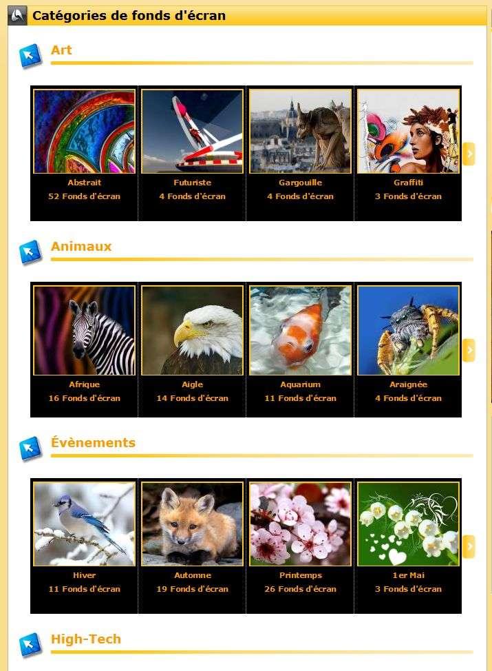 Chaque catégorie thématique offre une diversité de fonds d'écran, il y en a pour tous les goûts.