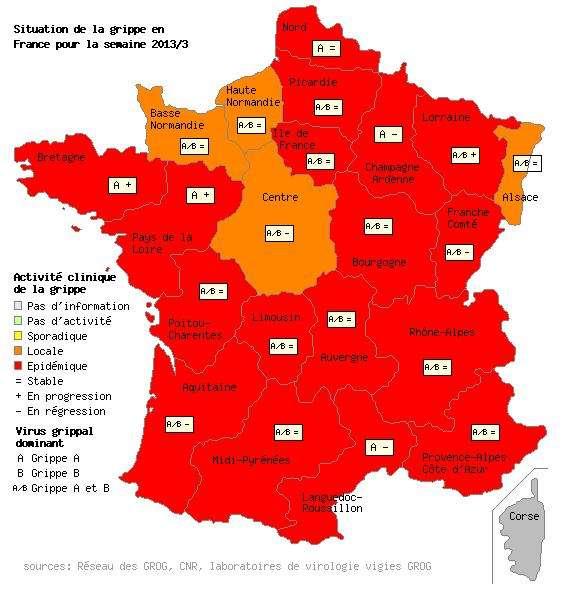 L'épidémie de grippe frappe entièrement 17 régions françaises, tandis que les foyers sont plus localisés en Haute-Normandie et en Basse-Normandie, dans la région Centre, mais aussi le long de la frontière avec l'Allemagne, en Alsace. © Grog