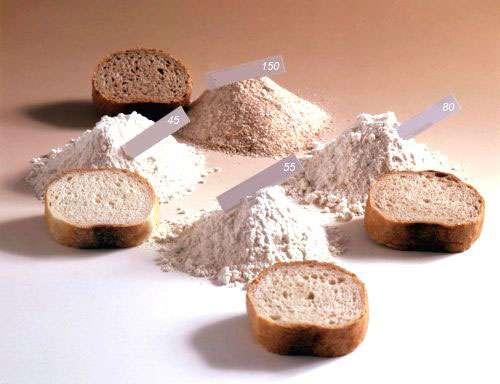 Différents types de farine.