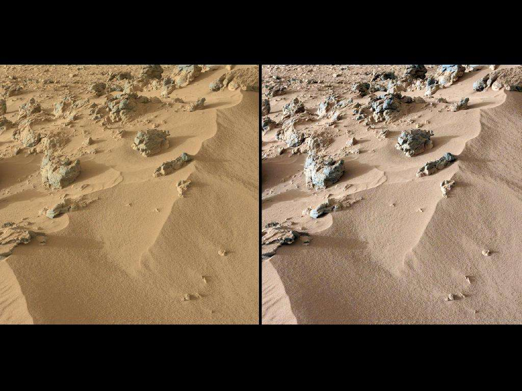 Vue saisie par l'une des caméras du mât (MastCam) à l'endroit du prélèvement de sable. L'image de gauche montre les vraies couleurs enregistrées par l'instrument, comme les verrait un astronaute présent sur place. Celle de droite, retouchée, montre l'aspect qu'aurait le site s'il était éclairé par la même lumière que sur Terre. © Nasa/JPL-Caltech/MSSS