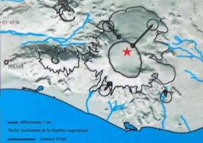 Carte du Vatnajökull, déformations entre 2001 et 2003 mesurées par GPS. © DR