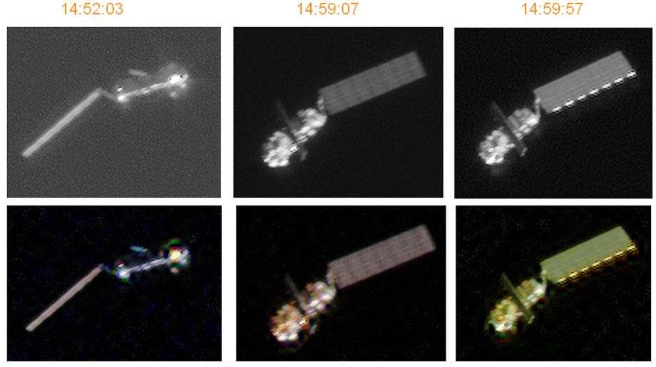 La série de clichés d'Envisat fait dire à des proches du dossier qu'Envisat serait bien sur une orbite stable... mais pas celle sur laquelle il devrait être. © Cnes