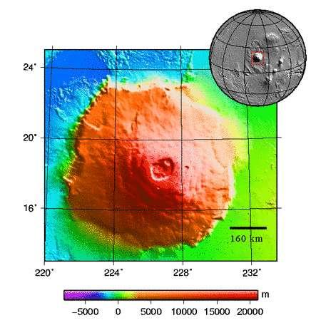 Le Mont Olympe détaillé par Mars Express