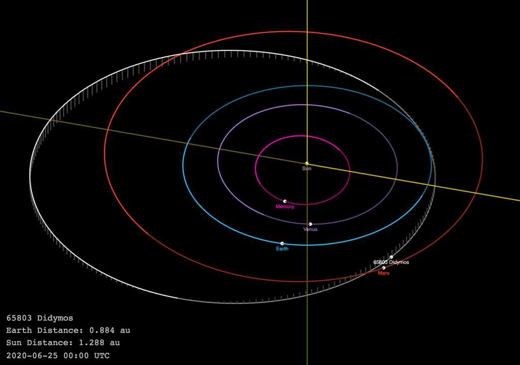 Autour du Soleil, l'orbite de Didymos (en blanc) et des planètes : Mercure en rose, Vénus en violet, la Terre en bleu et Mars en rouge. © JPL Small-Body Database