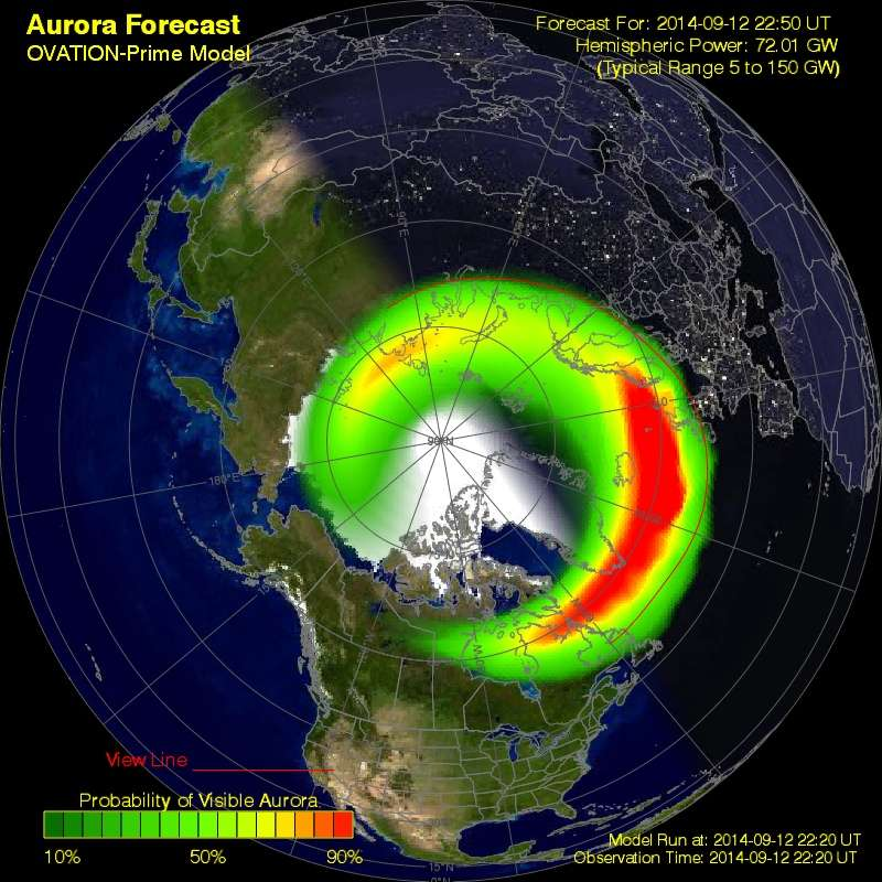 Modélisation de l'interaction des particules solaires avec la haute atmosphère terrestre. Au cours de la nuit du 12 au 13 septembre 2014, les aurores étaient particulièrement intenses dans les régions du cercle arctique et celles situées sous les taches rouges. © NOAA