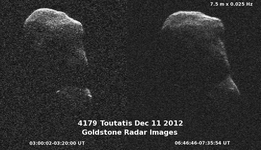 Toutatis observé par l'imagerie radar lors de son dernier passage au plus près de la Terre (en décembre 2012). © Nasa