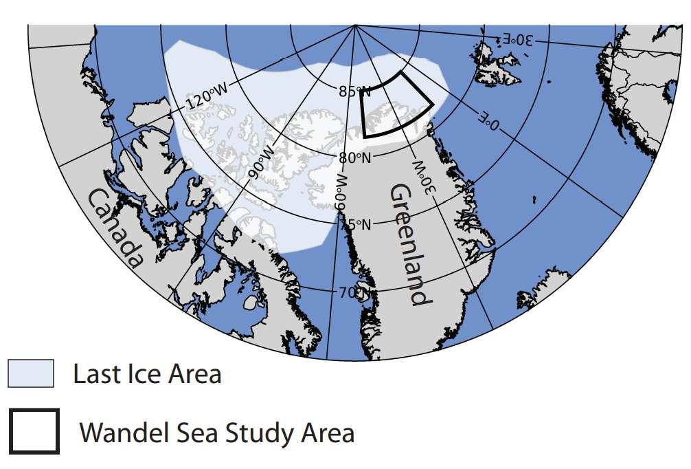 La zone concernée par les travaux des chercheurs de l'université de Washington (États-Unis) est ici entourée de noir. La dernière zone de glace apparait en grisé. © Schweiger et al., Communications Earth & Environment