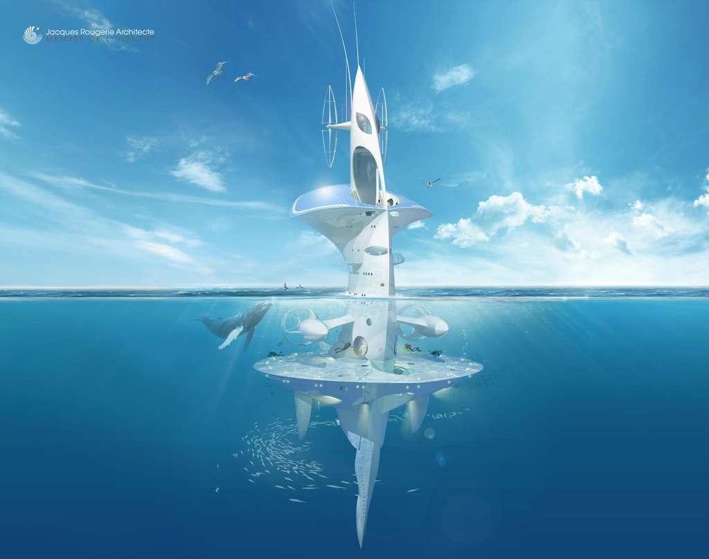 Le Sea Orbiter, un bâtiment dérivant mais capable de se déplacer. Avec ses éoliennes et ses panneaux solaires, il fournit l'énergie dont il a besoin et peut rester très longtemps en mer, abritant des laboratoires et, sous la surface, des sas d'entrée et sortie pour des plongeurs ou des engins sous-marins. Il n'existe pas aujourd'hui de possibilité pour des océanographes de rester pour de longues durées au sein d'une même masse d'eau. © Jacques Rougerie