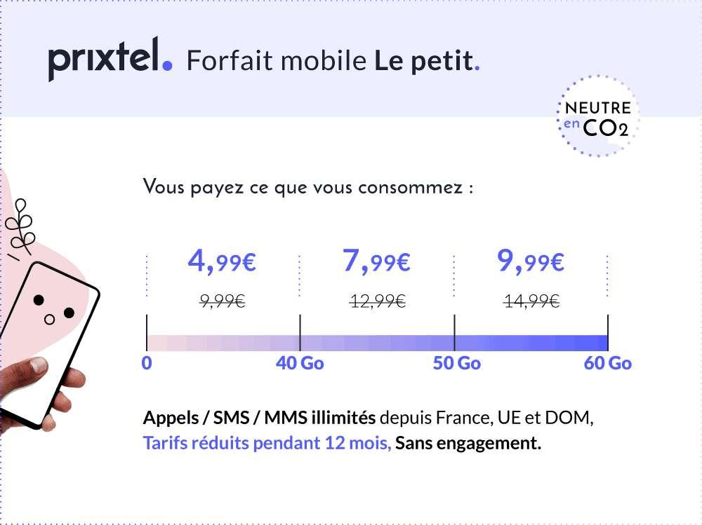 Le forfait Le petit à partir de 4,99€/mois © Prixtel