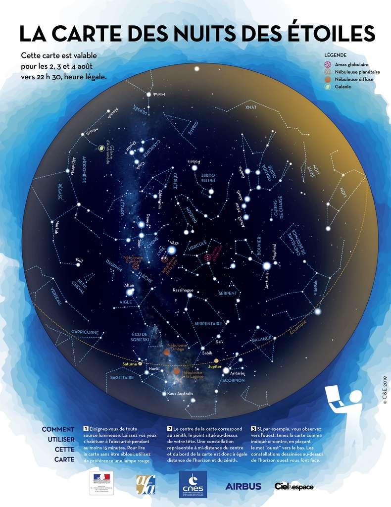 La carte du ciel de la Nuit des Étoiles pour vous guider dans le ciel d'été et identifier les constellations. © AFA