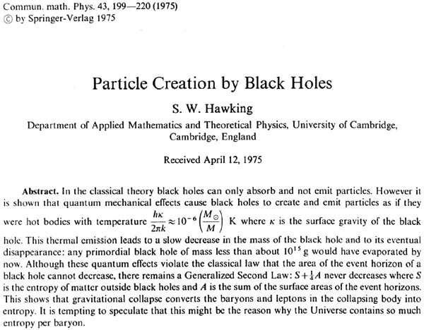 Début de l'article de Hawking datant de 1974.