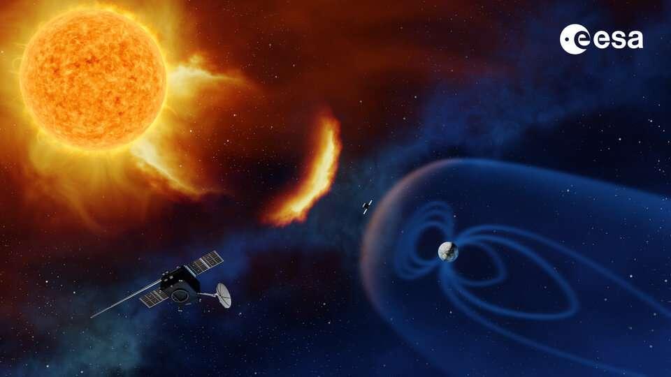 Satellite surveillant le Soleil. © Baker, ESA