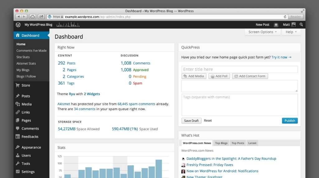 WordPress.com est la référence des services d'hébergement et de création de site web. © Automattic