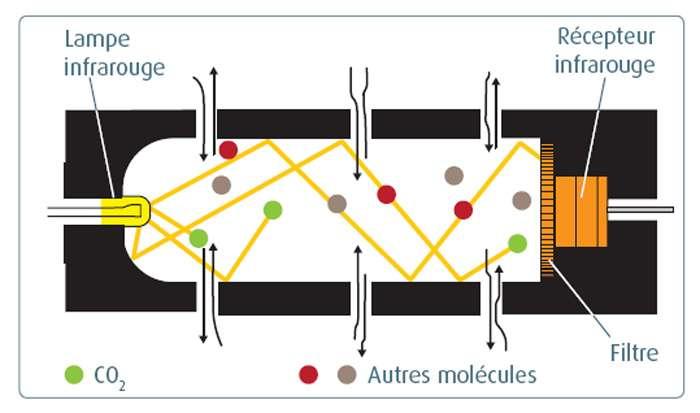 Principe de fonctionnement du transducteur de concentration de CO2. Plus la concentration de CO2 est grande, plus le rayonnement est absorbé. © Belin