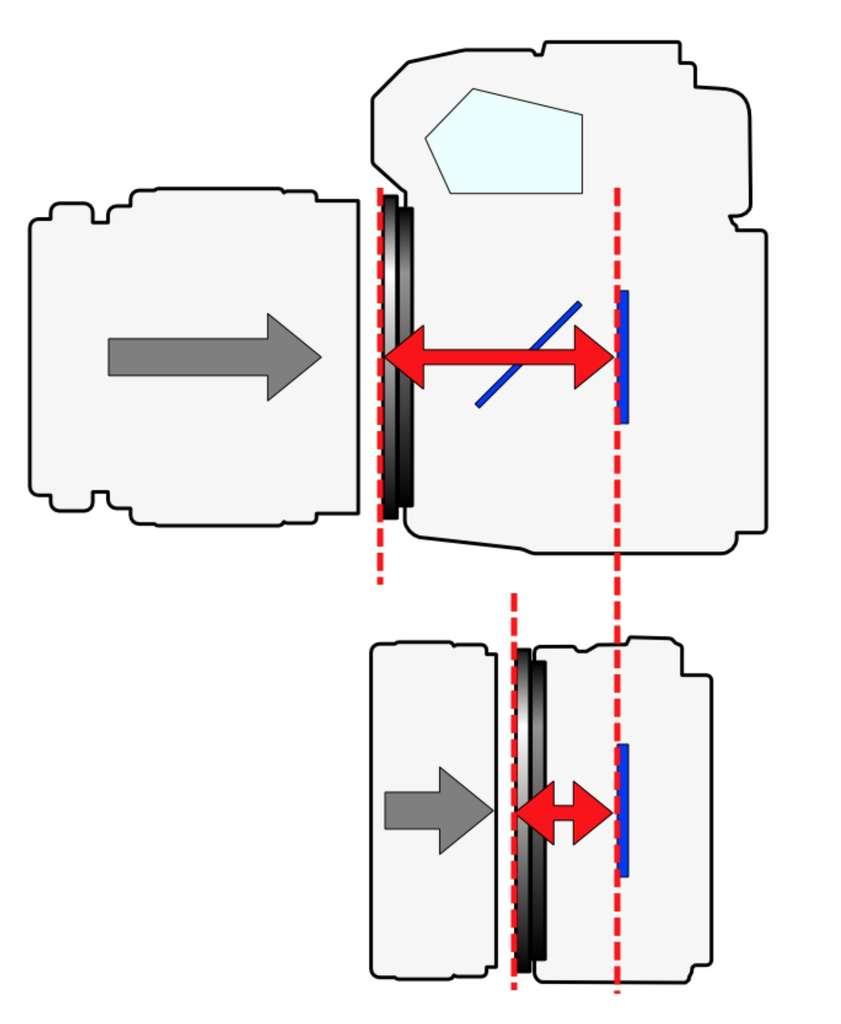 La différence de dimensions (et par conséquent de poids) entre un reflex et un hybride se voit facilement sur le schéma ci-dessus. Notons que la distance plus courte entre le capteur et l'objectif rend toujours possible l'adaptation d'un objectif pour reflex sur un hybride mais pas l'inverse. © Wikipedia Commons, CC by-sa 3.0