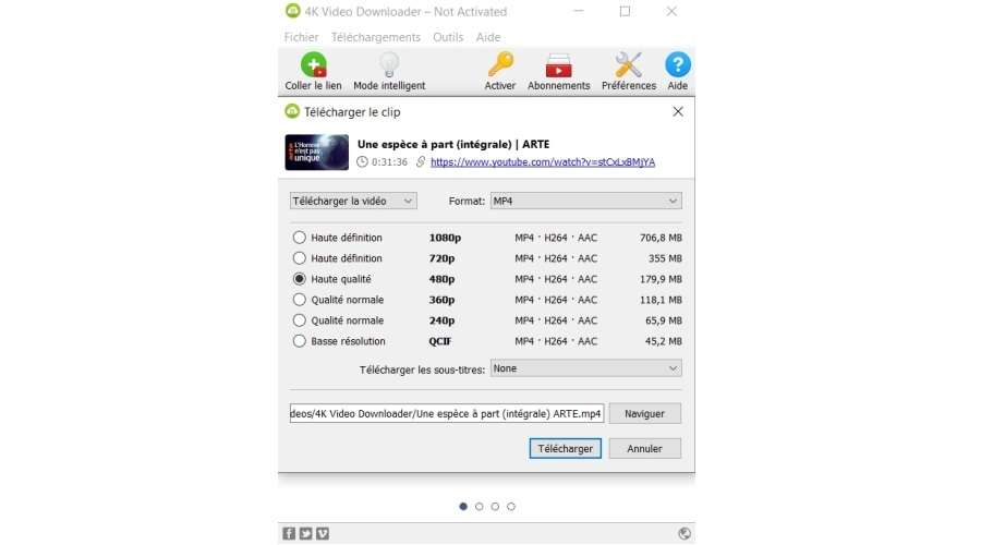 Fenêtre des paramètres de téléchargement © 4K Video Downloader