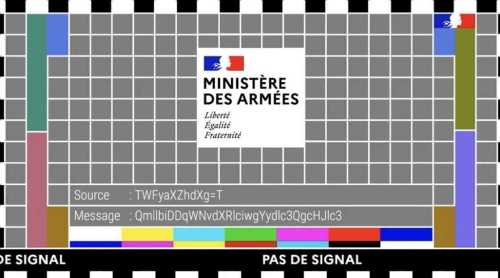 Le message énigmatique pour lancer l'exercice annuel interarmées de cyberdéfense « DefNet ». © Ministère des Armées