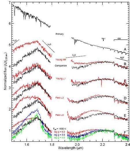 Spectre dans le proche infrarouge de 1RSX J160929.1-210524 et de son compagnon (21 juin 2008). Le spectre primaire (rang A) est calibré sur une température d'environ 4.000 K (type spectral K7). Le spectre du compagnon planétaire (courbes noires dans les rangs B à F) est comparé ici aux données de deux jeunes naines brunes de types spectraux M9 et L1 (courbes rouges en rangs B et C) et deux autres naines brunes, plus anciennes et plus froides de types spectraux L3 et L6 (rangs D et E).