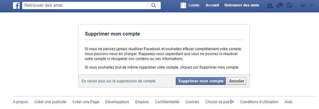 La suppression d'un compte Facebook se fait en quelques étapes. © Futura-Sciences